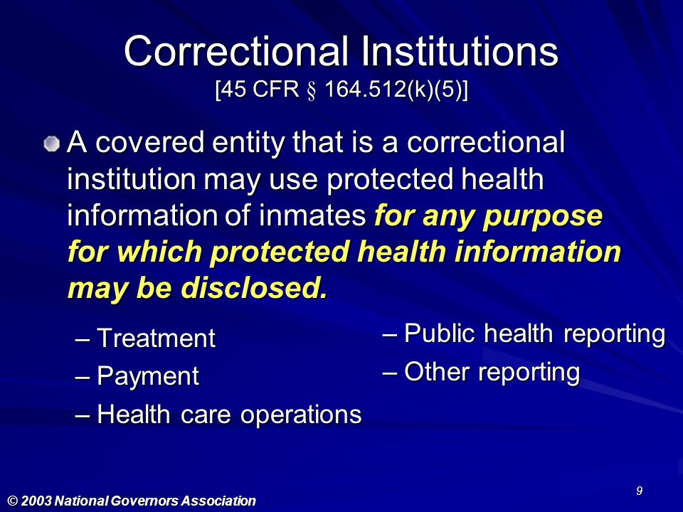 Correctional Institutions [45 CFR § 164.512(k)(5)]